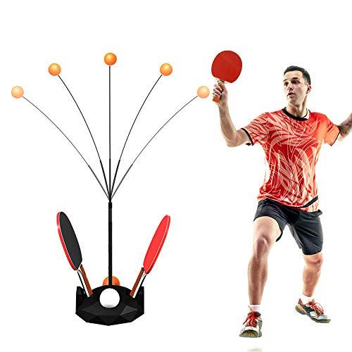 CestMall Set per Allenamento Paddle Tennis Rebound Robot, Ping Pong Machine Set di 2 Lame da Ping Pong E 6 Palline Body Trainer con Gambo Morbido, Set da Ping Pong per Interni ed Esterni