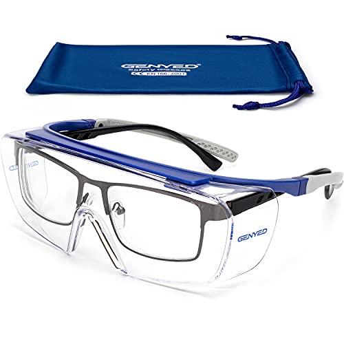 GENYED Occhiali Protettivi da Lavoro, Certificati CE EN166, Sovraocchiali, Occhiali di Sicurezza con Lente Antigraffio Antiappannante UV400 Astine Regolabili, Avvolgenti, idonei per Occhiali da Vista