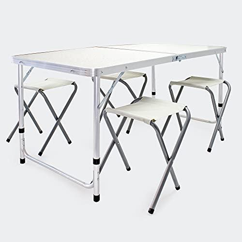 Wiltec Set da Campeggio in Alluminio 5 Pezzi Tavolo Pieghevole Regolabile in Altezza con Quattro sedili