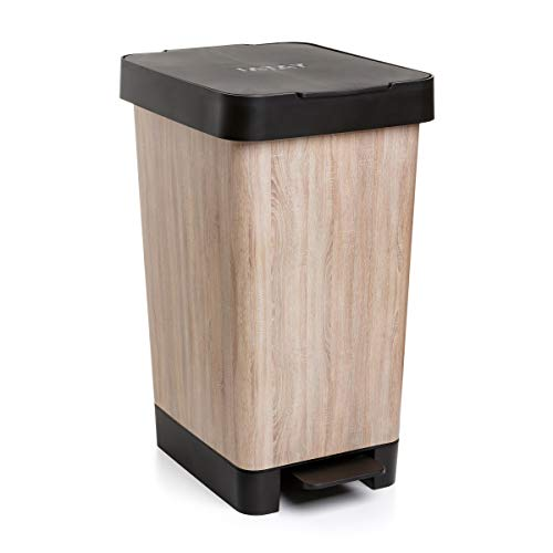 TATAY Pattumiera Smart Capacita di 25 L, Pedale Retrattile, Polipropilene, senza BPA, Sacco della Spazzatura da 30 litri, Legna, Misure 26 x 36 x 47cm