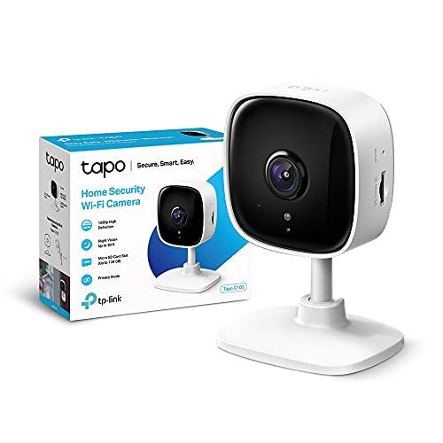 TP-Link Telecamera Wi-Fi Interno, Videocamera sorveglianza 1080P, Visione Notturna, Audio Bidirezionale, Notifiche in tempo reale del sensore di movimento(Tapo C100)