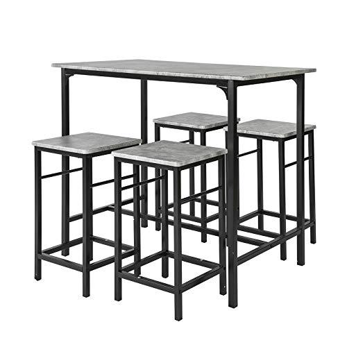 SoBuy Set 5 Pezzi Tavolo con 4 sgabelli Mobile Bar per casa Stile Industriale Grigio, L100*P60*A87cm, OGT11-HG