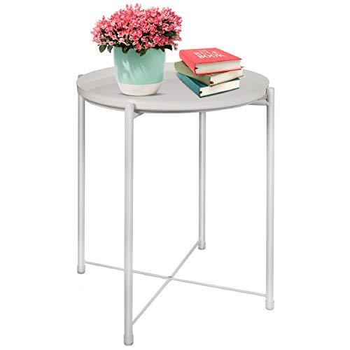 Tavolino rotondo da giardino con vassoio rimovibile, tavolino da caffè e tavolino da caffè in metallo
