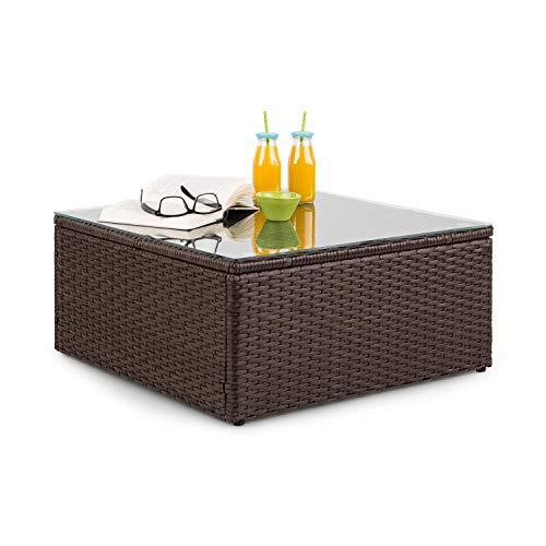 Blumfeldt Theia Loungetisch - Tavolo da Giardino, Tavolino da Lounge, Poly Rattan, Piano in Vetro, Marrone