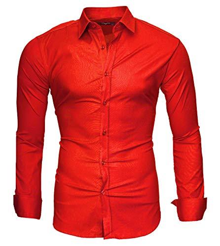 Kayhan Langarmhemd A.L.T Camicia Slim Fit, Red (L)