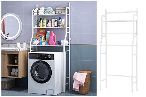 Scaffale salvaspazio lavatrice 155x65x25 bagno 3ripiani mobile bianco lavanderia