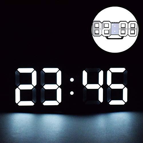 3D LED Digital Alarm Clock, Sveglia Digitale a LED 3D, Orologio Digitale da Parete LED 12h/24h Tempo di Visualizzazione con Allarme e 3 Livelli di luminosità Regolabili Funzion per La Camera da Letto