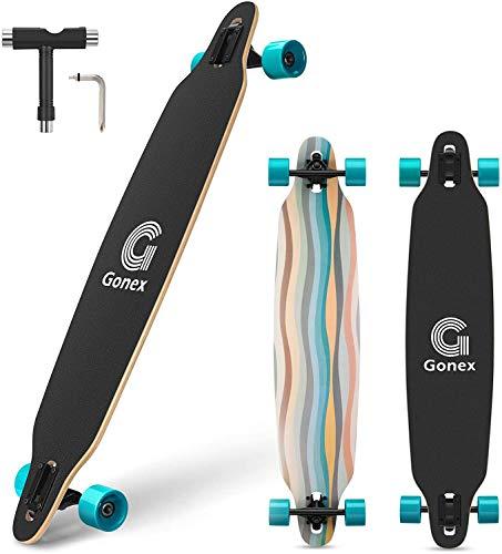 Gonex 42' Longboard Skateboard, Completo 9 Strati Acero Concavo Cruiser Per Ragazze Ragazzi Bambini Adulti e Principianti, Strisce Blu