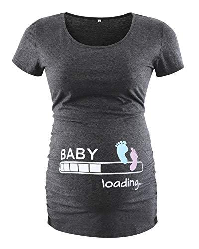 Love2Mi - Maglietta a maniche corte da donna, per maternità, con lato classico, con motivo a coste, per mamma e gravidanza Stampa alla caviglia. L