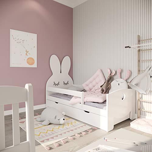 Letto per bambini con materasso NeedSleep   letto montessori per bambino basso  70x140 70x160 70x180  bambini letto singolo con cassetti   lettino bimbo completo   coniglio (70x140 cm, bianco)