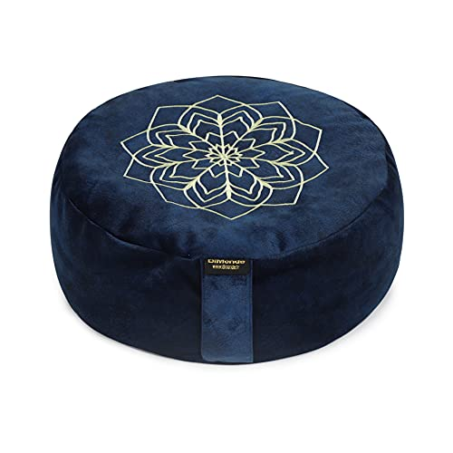 DiMonde Zafu Cuscino rotondo per Meditatione e Yoga, imbottitura in pula di grano Saraceno, sfoderabile e lavabile, manico laterale, Borsa in Cotone, Mandala, altezza 13 cm, diametro 33 cm (blu)