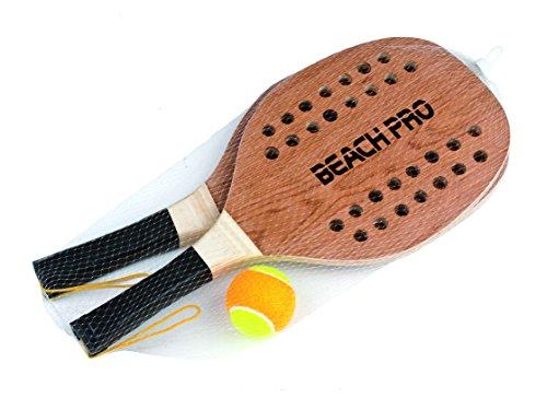 Mandelli Coppia Racchette Beach Tennis Pro Con Pallina Racchettoni In Legno 380, Multicolore, 48 cm, 8003029203546