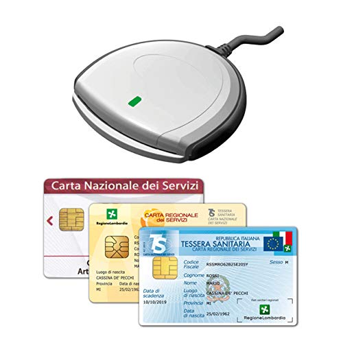 SCR3310 V2.0 - Nuovo Lettore USB per la Tessera Sanitaria Carta Nazionale dei Servizi TS-CNS, attivazione SPID, Firma Digitale, Accesso al fascicolo Sanitario FSE, Plug & Play