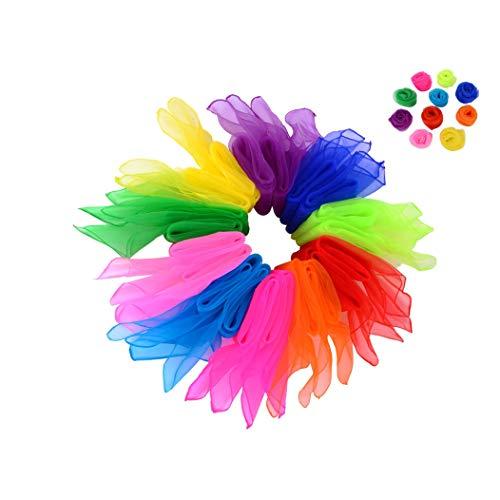ZARRS Sciarpe Danza,20 Pezzi Seta Sciarpa Muti-Colore Sciarpe di Giocoleria per Bambini e Adulti per Danza Trucchi Festa Accessorio Decorazione 60 * 60cm