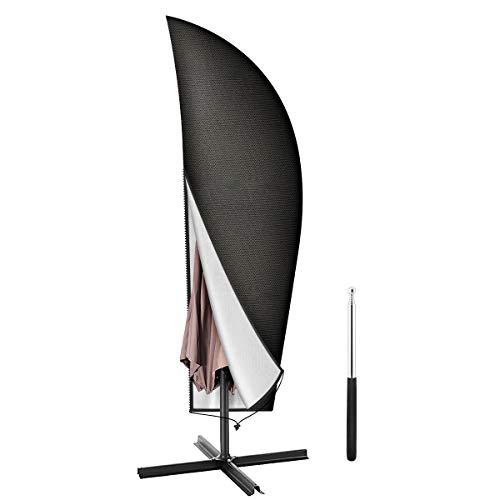 Aimego Coperture per Ombrelloni, 265cm Copertura Ombrello da Esterno/Parasole da Giardino Copertura Oxford Impermeabile, Nero