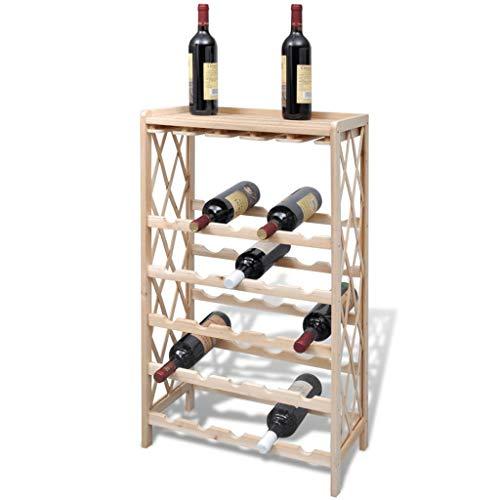 vidaXL Bottigliera per 25 Bottiglie di Vino Legno Mobile Portavini Cantinetta