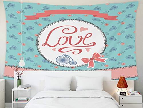 Arazzo da appendere a parete, decorazioni artistiche per la casa Acquerello Rosso Bicicletta d'epoca Disegno Pittura Elemento prenotazione rottami Viaggi Turismo con per soggiorno Dormitorio Sfondo ar