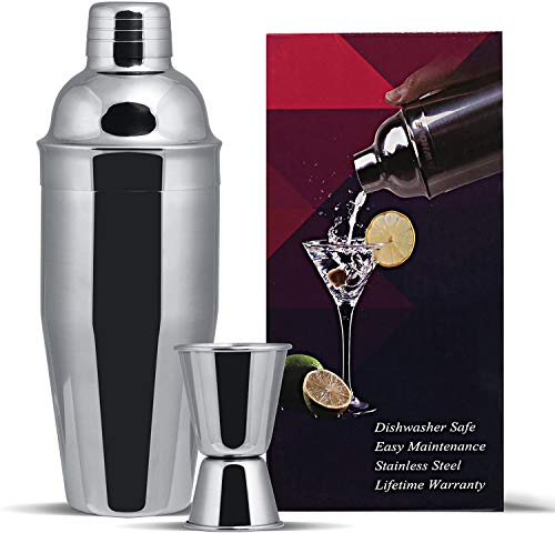 GWhole Shaker per cocktail da 750 ml con filtro integrato, un misuratore doppio e ricette (e-book - lingua italiana non garantita), set da 3 pezzi