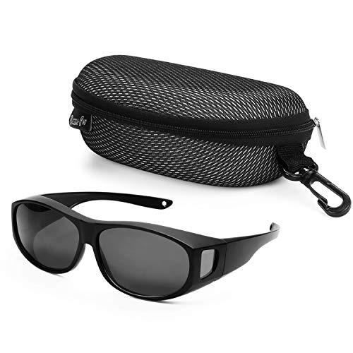 BEZZEE PRO Occhiali da Sole Polarizzati con Custodia - Occhiali Polarizzati Protezione Solare Antiriflesso UV400 - Sovraocchiali da Sole - Occhiali da Sole da Donna e Uomo per Bicicletta e Escursioni