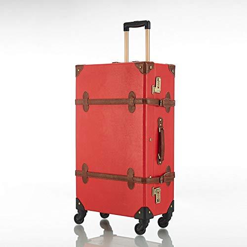 Contenitore GGYMEI Valigia Vintage , Design angolare for Valigia Trolley Adatto for riporre Abiti e Giocattoli pu , 3 Colori 2 Taglie (Color : Red, Size : 56x36x20cm)