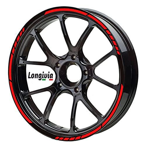 Adesivi Cerchioni Moto Auto Bici e MTB Set Completo per 2 Ruote Strisce Cerchi Custom Rosso Rifrangente Disponibile in Vari Colori da 15 Fino a 19 Pollici o da 38 Fino a 48 cm (Rosso Rifrangente)