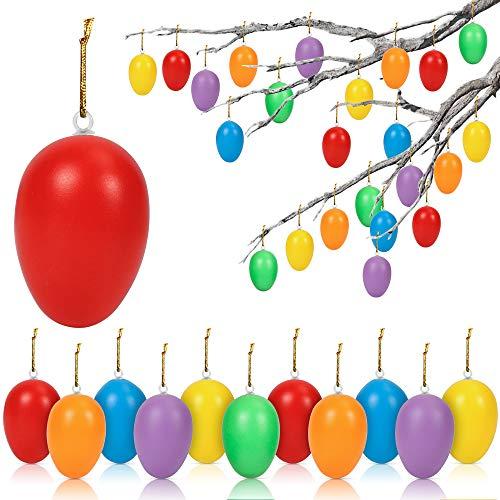 O-Kinee Uova di Pasqua, Decorazioni Pasquali, Uova di plastica, 24 Pezzi Uova di Pasqua da Appendere, Pasqua Decorazioni casa, Uova di Plastica per la Decorazione e Regali del Partito di Pasqua