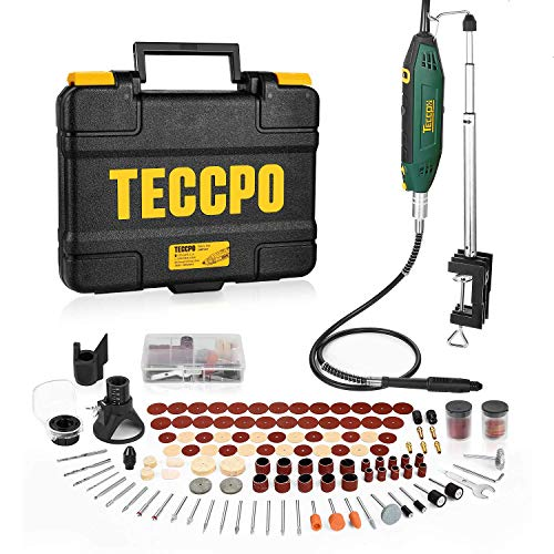 Utensile Rotante, TECCPO 200W Strumento Multifunzione Kit con Braccio Telescopico&Morsetto da Tavolo, 120pcs Accessori, Mini Drill a 5+Max Velocità Variabile, Ideale per Creazioni Fai da te-TART13P