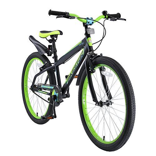 """BIKESTAR Bicicletta Bambini da 9 Anni   Bici Bambino Bambina 24 Pollici Freno a Pattino e Freno a retropedale   24"""" VTT Edition Nero & Verde"""