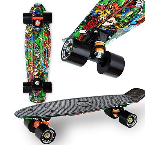 WeLLIFE Skateboard Mini Cruiser RGX Nero Multicolor Tavola Skate 22� 56cm per Giovani Ragazzi Adulti, Ruote PU 78A con Cuscinetti ABEC-7RS