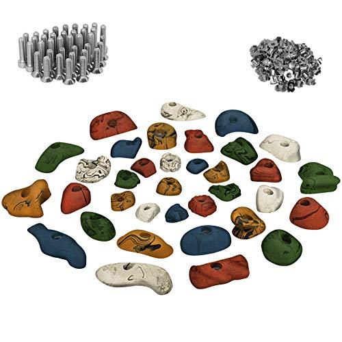 ALPIDEX 35 Prese da Arrampicata in Kit principiante - per Una Parete di ca 3-5 m² di Superficie di Arrampicata - Viti e 100 Dadi Ragno compreso, Colore:colorato