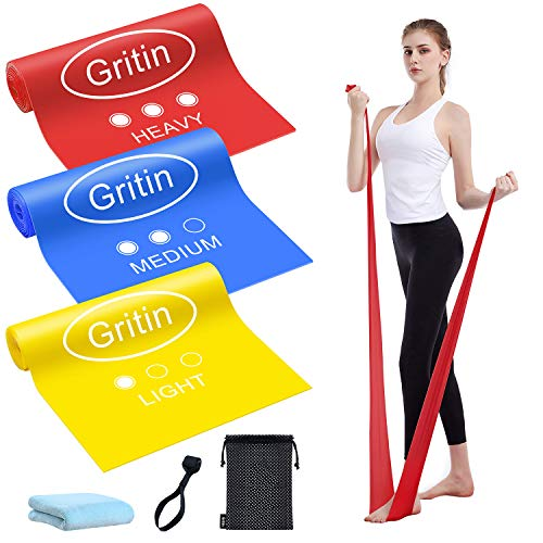 Gritin Bande Elastiche Fitness, [3 Pezzi] Fasce Elastiche di Resistenza di Lattice con 3 Livelli per Yoga, Pilates, Allenamento, Fisioterapia, Riabilitazione - Borsa per Il Trasporto Incluso