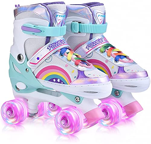 YUDOXN Pattini a Rotelle regolabili. pattini a rotelle bambina con tutte le ruote illuminate Led. comodi pattini ideali per principianti.(Taglia 31-42) (Arcobaleno-Rosa, S)