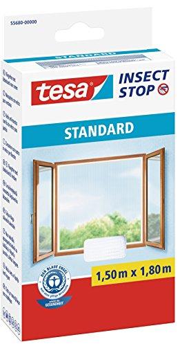 Tesa Insect Stop Zanzariere Attacca & Stacca STANDARD per Finestre - Zanzariera Adesiva - Rete per Zanzariera Regolabile a Piacere - Bianco, 150 cm x 180 cm