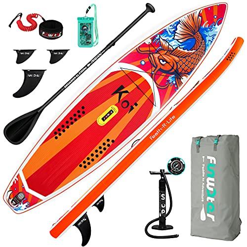 FunWater Tavola gonfiabile Stand Up Paddle Board 350 x 84 x 15 cm, con tavola antiscivolo, zaino da viaggio, pagaia regolabile, pompa, guinzaglio, borsa impermeabile