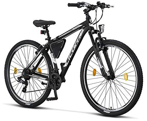 Licorne - Mountain bike Premium per bambini, bambine, uomini e donne, con cambio a 21 marce, Bambina, nero/bianco (freno a V)., 29 inches