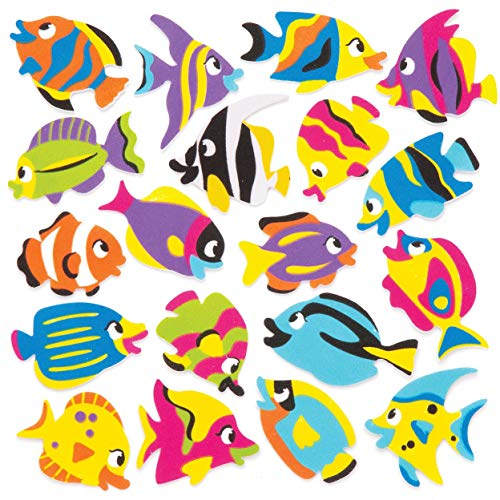 Baker Ross Adesivi in gommapiuma con pesci tropicali (confezione da 120) - Adesivi in gommapiuma a tema acquatico in divertenti forme