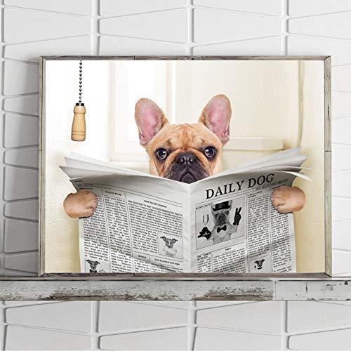ZXFMT Stampe Quadri Tela Bulldog Cane Seduto sul Water E Leggendo Rivista Tela Arte Poster Stampa Divertente Arte Pittura Immagine Bagno Decorazione della Parete A4 21x30 cm No Frame