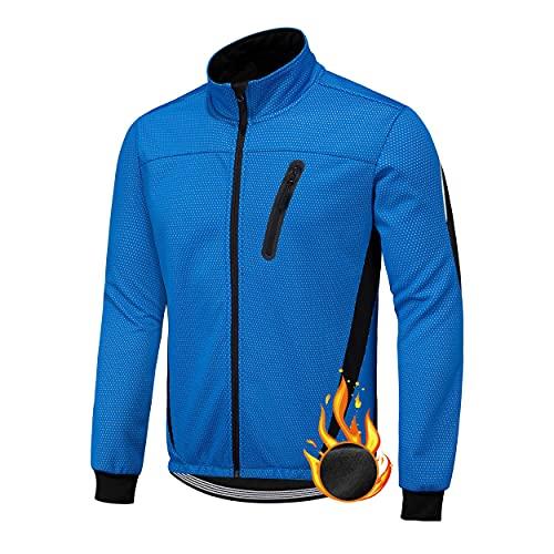 XM Giacca da Ciclismo Invernali da Uomo Abbigliamento Ciclista Mantellina Antivento Uomo Maglia da Bici Vello Maniche Lunghe Antivento Ciclismo Maglia Autunno Inverno (Blu, L)