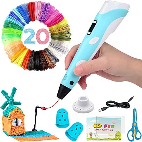 Penna 3D, 3D Penna Stampa con Schermo LCD e Controllo della Temperatura, con filamento di 20 colori, Compatibile con PLA/ABS Filaments, Grande regalo di artigianato artistico per bambini e adulti