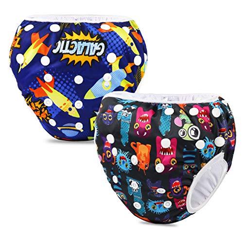 PHOGARY Riutilizzabile Pannolini da nuoto (Confezione da 2), Costume Pannolino Lavabili, Impermeabile Pannolino Piscina (0-3 anni)