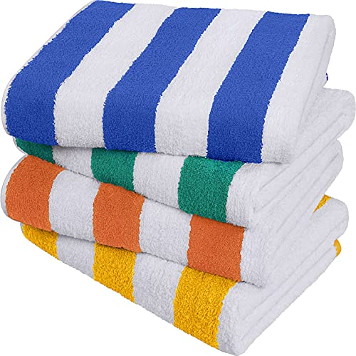 Utopia Towels - Asciugamani da Spiaggia Cabana Striscia, (76 x 152 cm) - 100% cotone Ring Spun Grandi Asciugamani da Piscina, Asciugamani da Bagno Morbidi e ad Asciugatura Rapida (Confezione da 4 - Blu, Giallo, Verde, Arancione)
