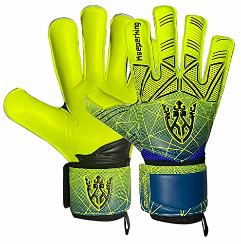 Keeperking Fingersave - Guanti da portiere per adulti e bambini, con e senza protezione delle dita, 4 mm, unisex (9, giallo-rimovibile)