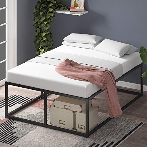 ZINUS Joseph 46 cm Telaio del letto con piattaforma in metallo | Base per materasso | Supporto per doghe in legno | Contenitore sotto al letto | 160 x 190 cm | Nero