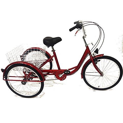 SHIOUCY tricicli Adulti velocità Bicicletta 3 Ruote Adulti con Cestino di acquisto con Faro della Bicicletta Bike, DHL (Rosso)