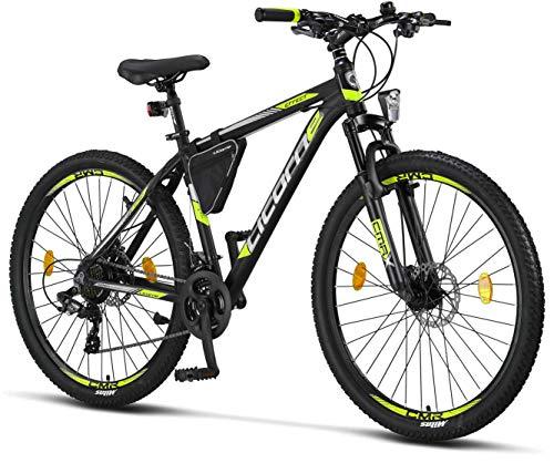Licorne - Mountain bike Premium per bambini, bambine, uomini e donne, con cambio 21 marce, Bambina, nero/lime (2 freni a disco)., 27.5 inches