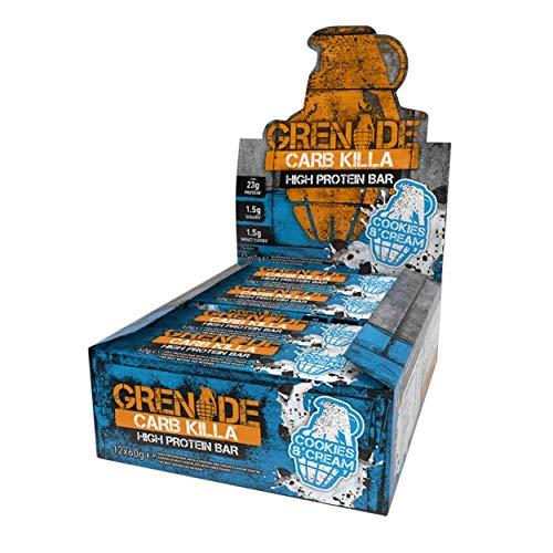 Grenade Carb Killa Barretta Proteica a Basso Contenuto di Carboidrati, 12 x 60g, Cookies & Cream