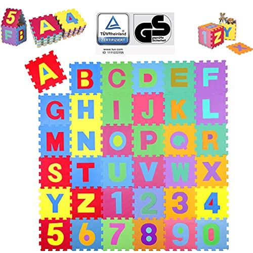 KIDUKU Tappeto Puzzle 36 Pezzi - Testato TÜV Rheinland - con Numeri e Lettere Colorati in Morbida Gomma Eva Resistente, Isolante, Lavabile – Tappeto da Gioco per Bambini