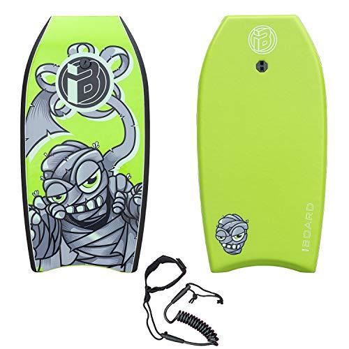 iBOARD Bodyboard, Bodyboard leggero con nucleo in EPS, guinzaglio e cinturino da polso per surf per bambini e adulti