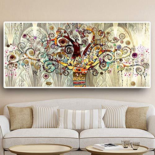 WTYBGDAN Albero della Vita Pittura a Olio Classica di Paesaggio su Tela Poster e Stampe Immagini di Quadri di Grandi Dimensioni per Soggiorno   70x140 cm/Senza Cornice