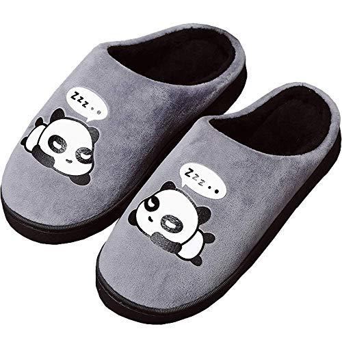 Peluche Pantofole Donne Uomo Caldo Carine Panda Pantofole Inverno Autunno Bambine Interni Antiscivolo Scarpe di Slipper per Ragazzi Ragazze Grigio 37/38 EU = 38/39 CN
